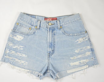 "Levi's Vintage Denim Blue High Waisted Cuttoff Shorts Size 24"""