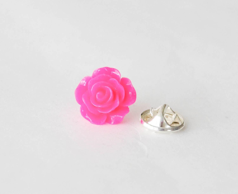 Hot Pink Rose Pin Pink Rose Lapel Pin Hot Pink Flower Pin