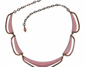 Matisse 1950s Pink Enamel and Copper Vintage Necklace