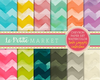 Watercolor Chevron Digital Paper, Pink Blue Yellow Mint Patterned Paper Scrapbooking, Watercolor Paper, Watercolor Chevron, Wide Chevron,
