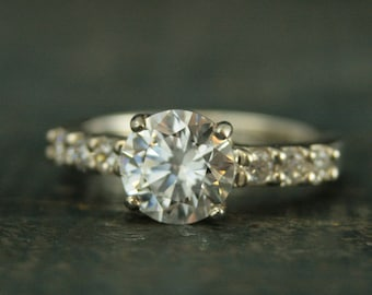 Bling Ring~Silver Engagement Ring~Accented Center Stone~Show Stopper Ring~Rocks Engagement Ring~Cubic Zirconia Ring~Alternative Diamond Ring