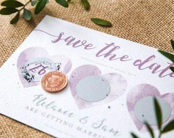 SAMPLE - Save the Date Scratch Off Watercolour Hearts Invitation Silver and Lavender