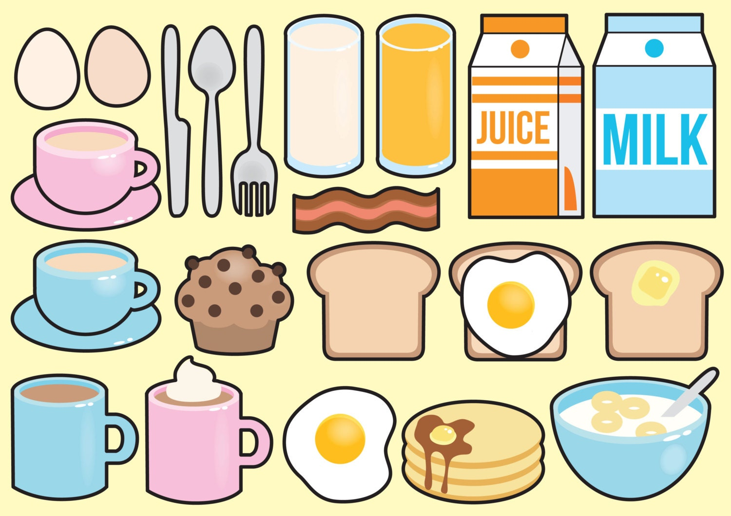 Decorating Kitchen Ideas Premium Vector Clipart Kawaii Breakfast Clipart Kawaii