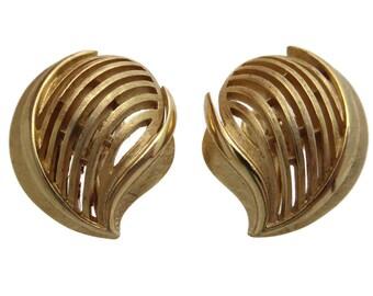 Trifari Earrings - Textured Gold Tone, Clips, Costume Jewelry Vintage Earrings for Women