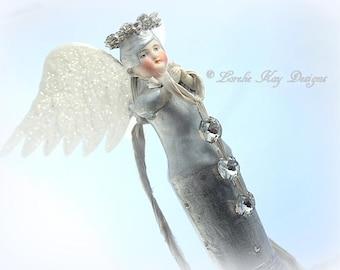 Angel Of Sparkle Art Doll Assemblage Art Doll Sculpture Wooden Totem Blonde Angel Girl OOAK Sculpted Lorelie Kay Designs