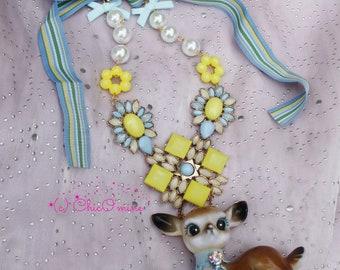 Vintage Deer Fawn Rhinestone Statement Bib Necklace: Shabby Chic, Fairy Kei, Kawaii, Mori Kei