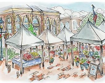 Farmer's Market, Edmonds, WA - Whimsical Watercolor Art, Blank Greeting Card