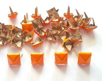50 pcs Orange pyramid stud findings size 8 mm