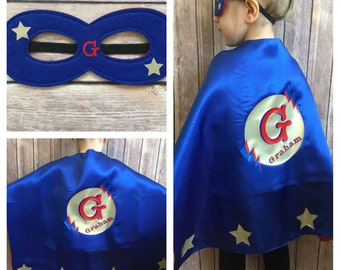 Boy Superhero Cape w mask , Superhero Costume, Boy Superhero Cape, Boy Cape, Custom Superhero Cape, Personalized Kid's Superhero Cape