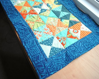 Quilted Table Runner Triangles Orange Blue Green Red Yellow
