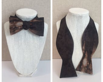 Hand-dyed black and brown adjustable bow tie