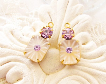 Vintage Matte Camphor Glass Octagon and Violet Amethyst Rhinestone Drops Brass Prong 18x8mm Settings Dangles Charms - 2
