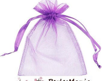 10 covers approximately 10 by 15cm purple clear organza bag
