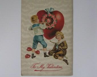Valentine's Day Vintage Post Card - To My Valentine - Germany - Used - 1910