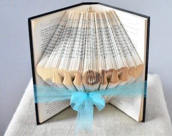Gift Ideas for Mom - Folded Book Art Featuring the Word MOM surrounded by hearts