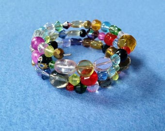 Multicolored Glass Beaded Wrap Bracelet, handmade Bracelet, mixed glass memory wire bracelet, one of a kind