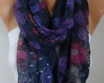 Valentine's Gift,Floral Knitted Scarf  Cowl  Scarf - Multicolor -Gift Ideas For Her  Women's Fashion Accessories