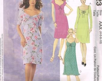 Womens Feminine Dress Pattern McCalls 3223 Size 4 6 8 10 Empire Waist Knee Length Dress Summer Dress Sundress Uncut 2001 Sewing Pattern