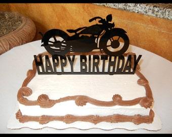 "Harley Davidson MOTORCYCLE cake topper - Happy Birthday Cake Topper - 10 "" wide x 6"" tall motorcycle cake topper - happy birthday topper"