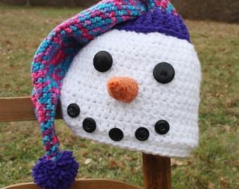 Snowman Hat, Crochet Beanie, Crochet Snowman, Holiday, Gift, Men, Women, Boys, Girls, Baby, Christmas, Winter Hat, Accessories, Children