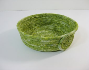 Green Coiled Fabric Bowls, Handmade Fabric  Basket,  Hand Coiled Rope Bowl, Clothesline Basket, Small Fabric Basket, Coiled  Rope Basket