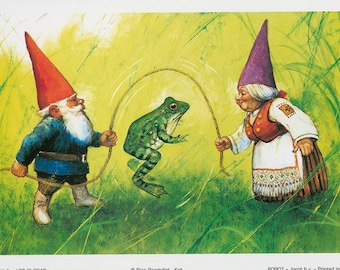 Vintage art print 80s. David the gnome and Lisa are jumping rope with a frog. By Rien Poortvliet.