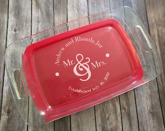 Mr and Mrs Dots Engraved Pyrex Baking Dish