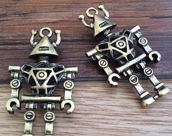 3pcs 45mmx25mm Lovely 3D Robot  -antique bronze charm jewelry findding