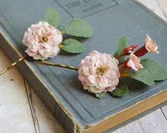Rose hair pins, woodland hair clip, flower bobby pins, dusty pink flower clips, wedding hair pins, floral hair accessories