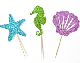 Under the Sea Cupcake Toppers - Set of 12 - Under The Sea Party, Beach Party Decor, Seahorse, Shell, Starfish