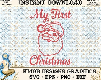 Sale! Instant Download - Personal Use - Christmas Santa My First Christmas Svg Png Dxf Eps - cut svg files, Shirt Cup Mug Designs Wall Art
