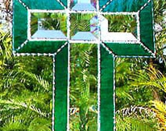 Stained Glass Cross Suncatcher, Christian Cross, Beveled Glass Sun Catcher, Christian Design, Cross Sun Catcher, Glass Cross, 9510-TL