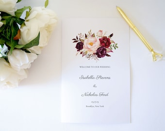 Wedding Program Template,Floral Wedding Program Template,Folded Ceremony Program,Folded Program Template,Order of Ceremony Printable,PDF