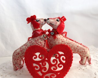 Valentines Day Dachshund Doggy / Quilty Criiters / Boy or Girl / Novelty / OOAK / Ornament / Gift