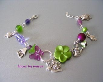 Purple costume jewelry bracelet charms handmade purple and green butterfly