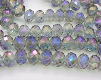 nacklace with 35 10x8mm abacus crystal glass beads with pink and blue highlights