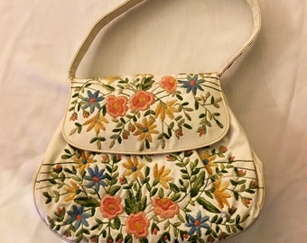 1960's Embroidered Pleather Purse
