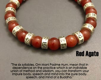 Yoga Bracelets ॐ Om Mani Padme Hum Mantra: Red Agate | Healing Karma Love Stacks | Luxury Organic Jewelry | Men's Women's | Tibetan Buddhist