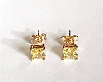 Yellow Swarovski Crystal Stud Earrings