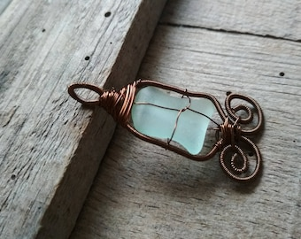 Wire Jewelry Designs, gift for her, brown copper wire, Sea glass pendant, Pendant Statement Piece, wire wrapped pendant
