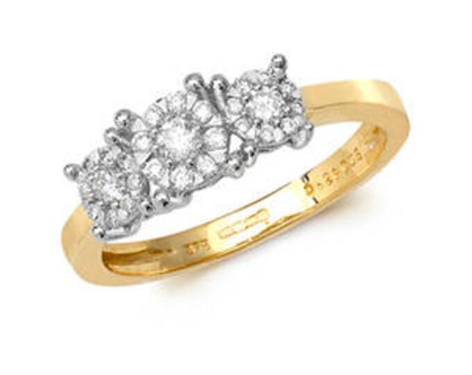 9ct Trilogy Diamond Yellow Gold  0.29 Carat Diamond- British Hallmark