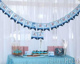 Shark Happy Birthday Banner Printable - Instant Download - Shark Party Collection