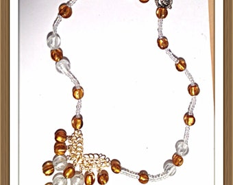 Handmade MWL gold and white venetian glass beads and clear seed bead spacer necklace. 0146