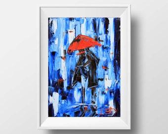 Abstract Print, Rainy Evening, Girl with Umbrella, Giclee print, Abstract Art, Colorful Print, 5x7, 8x10, 11x14, 12x16, Romantic Art Print