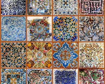 Gaudi Parc Guell Barcelona Spain Mosaic Tiles Photo Collage on Canvas. Spanish Wall Decor. Colorful Home Decor. Travel Photography.
