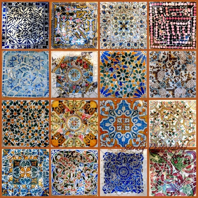 Gaudi Mosaic Tiles Collage on Canvas. Photos of Parc Guell