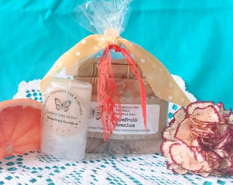 Grapefruit gift set, grapefruit spa set, grapefruit spa gift, grapefruit geranium, bath gift set, beauty gift set, organic gift set, vegan