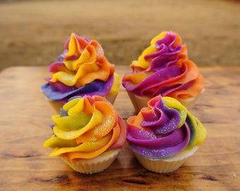 Rainbow Sherbet Cupcake Artisan Soap