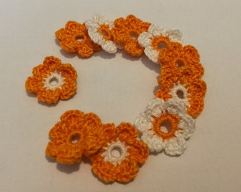 Applique crochet small flowers cotton blend orange 1 color