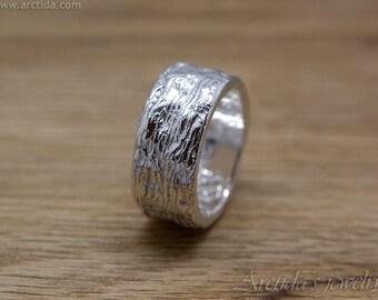 Massive Herren Ring Baum Rinde Textur Breitband unisex Ring geschnitzt strukturierte Natur inspiriert Muster großer Ring Schmuck heidnischen Stil Wicca